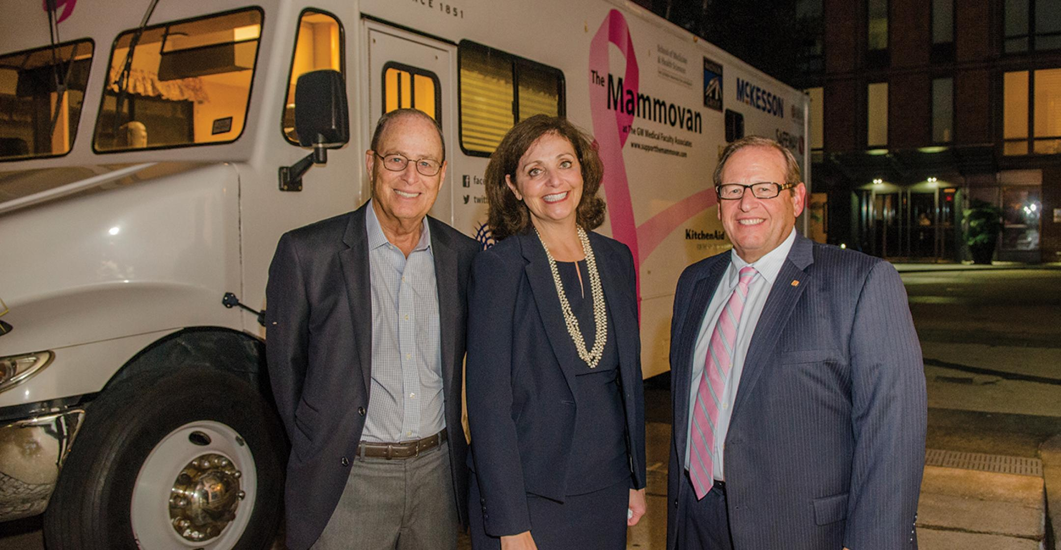 A NEW MAMMOVAN - Representatives from the EagleBank Foundation presented the GW Cancer Center and the George Washington Medical Faculty Associates with the gift of $750,000 for a new mobile mammography unit.